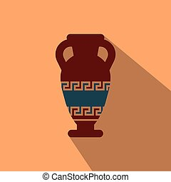 Greetings from greece vector postcard ancient greek amphora design illustration of amphora from greece in flat style with shadow m4hsunfo