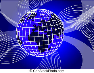 abstract blue background with swirls and globe -...