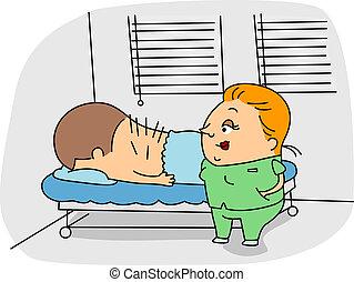 Acupuncturist - Illustration of an Acupuncturist at Work