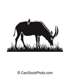 African antelope silhouette - Illustration of an African...