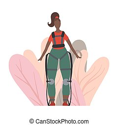 Illustration of an african woman in exosuit with abstract foliage. Medical exoskeleton to help people with disabilities. Innovation in healthcare. Vector image