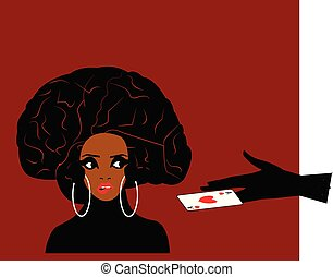 illustration of an african woman with hairdo in form of a brain