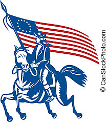 illustration of an American revolutionary general a riding horse with Betsy Ross Flag