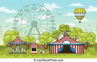 Illustration of an amusement park in summer