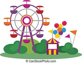 Amusement Park - Illustration of an Amusement Park, isolated...