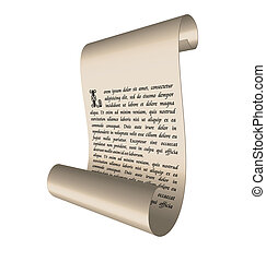 Illustration of an ancient scroll with text
