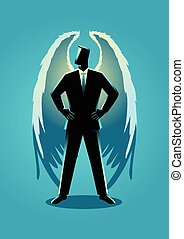 Illustration of an angel as a businessman