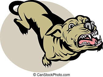 illustration of an Angry Dog barking about to attack viewed from a high angle