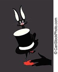 illustration of an angry man with a scared rabbitt hiding behind his hat