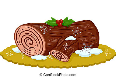 Yule Log - Illustration of an Appetizing Yule Log Topped ...
