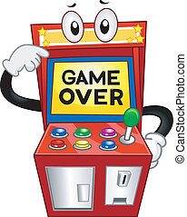 Game Over - Illustration of an Arcade Machine with the Words...
