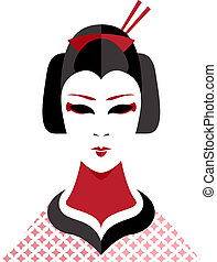 Geisha - Illustration of an Asian Geisha Girl