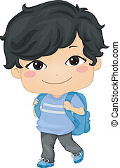 Illustration of an Asian Schoolboy Carrying a Backpack