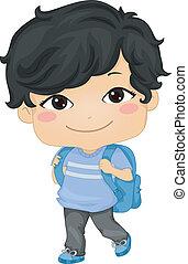 Asian Schoolboy - Illustration of an Asian Schoolboy...