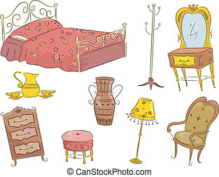 Vintage Furniture - Illustration of an Assortment of Vintage...