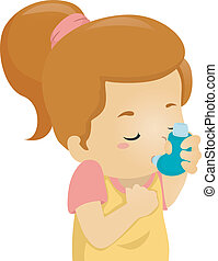 Asthmatic Girl - Illustration of an Asthmatic Girl Using an...