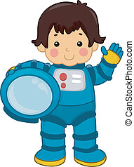 Astronaut Boy - Illustration of an Astronaut Boy carrying...