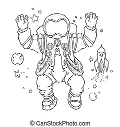 Illustration of an astronaut in space suit and helmet with...