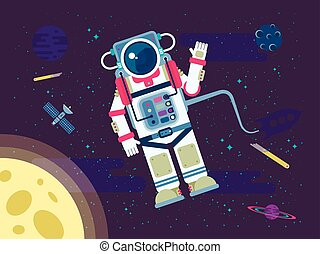 illustration of an astronaut or cosmonaut flying in outer space near the moon in a flat style