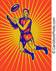 aussie rules player jumping catching - illustration of an...