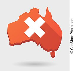 Australia map icon with a close sign