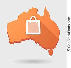 Australia map icon with a shopping bag