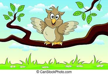 Illustration of an cartoon owl on a branch