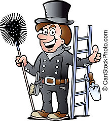 illustration of an Chimney Sweep - Hand-drawn Vector...