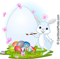 Easter Bunny painting Easter Eggs - Illustration of an...