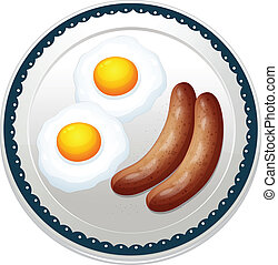 an egg omelet and sausages