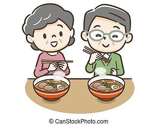 Illustration of an elderly couple eating ramen
