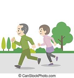 Illustration of an elderly couple jogging