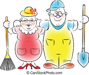 Illustration of an elderly couple who love to garden and vegetable garden.
