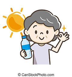 Illustration of an elderly woman hydrating