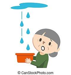 Illustration of an elderly woman suffering from rain leak