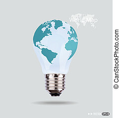 Illustration of an electric light bulb with a world map. ...
