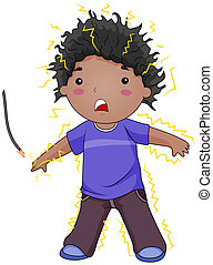 Electrocuted Kid - Illustration of an Electrocuted Kid