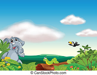 an elephant, an insect and a bird