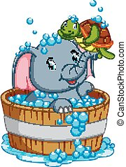 an elephant is bathing and playing with a turtle taht is very pleasant