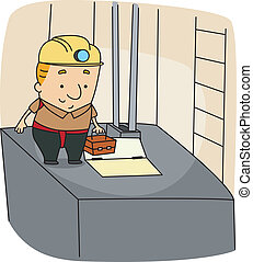 Elevator Mechanic - Illustration of an Elevator Mechanic at...