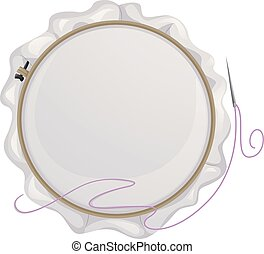 Illustration of an Embroidery Hoop with a Needle Beside It