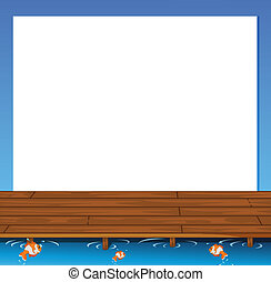 Illustration of an empty paper template with a wooden bridge and fishes at the bottom