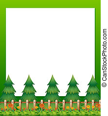 Illustration of an empty paper template with pine trees and a garden at the bottom