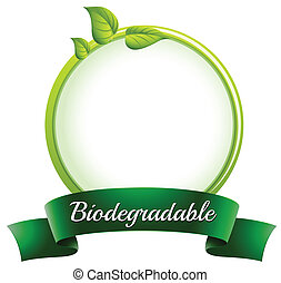 Illustration of an empty round template with a biodegradable...