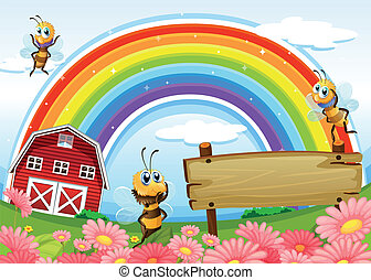 Illustration of an empty signboard at the hilltop with a barnhouse and a rainbow