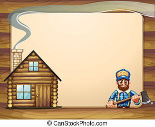 Illustration of an empty template with a wooden house and a...