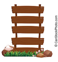 Illustration of an empty wooden signboard with rocks and mushrooms at the bottom on a white background