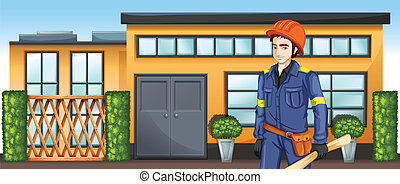 Illustration of an engineer with a sketch plan standing in front of the building