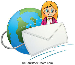 Illustration of an envelope in front of the smiling girl with a globe at the back on a white background