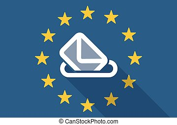 European Union long shadow flag with a ballot box